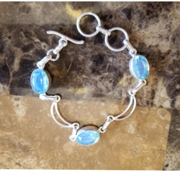 """Jewelry - Baby Blue Milky Opal & Silver Moons Bracelet 7.25"""""""